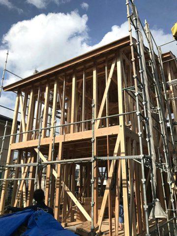 京都市右京区の木の家新築の上棟